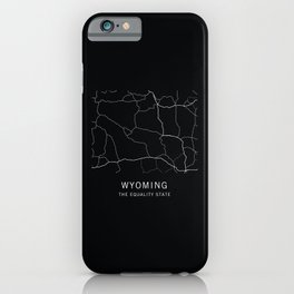 Wyoming State Road Map iPhone Case