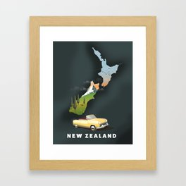 New Zealand travel poster Framed Art Print