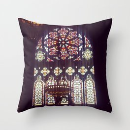 Stained Glass Church Throw Pillow