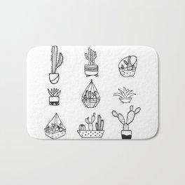 Minimalist Cacti Collection Black and White Bath Mat