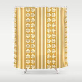 Geometric Golden Yellow & White Vertical Stripes & Circles Shower Curtain