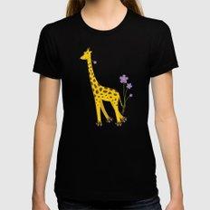 Funny Giraffe Roller Skating Womens Fitted Tee MEDIUM Black