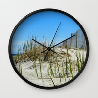 cape cod Wall Clocks featuring Cape Cod Dunes by Doreen Calvano Art & Photography