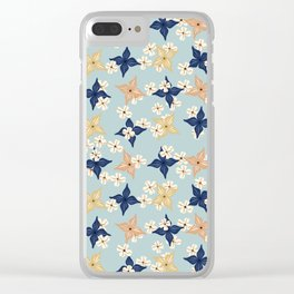 Dainty floral pattern on duck egg blue Clear iPhone Case