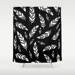 Black and White Feathers Shower Curtain