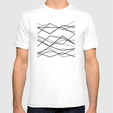 B/W geometric pattern (waves) LARGE White Mens Fitted Tee