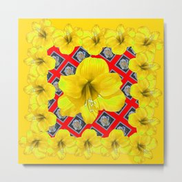 ABSTRACT YELLOW AMARYLLIS RED PATTERNED ART Metal Print