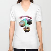 movie posters V-neck T-shirts featuring Los Angeles—Movie Poster Edition by laloveshirts
