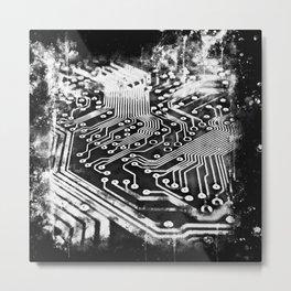 platine board conductor tracks splatter watercolor black white Metal Print