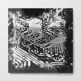 platine board conductor tracks splatter watercolor black white Metal Print