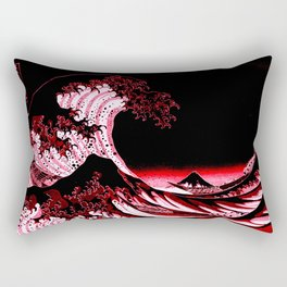 The Great Wave : Red & Black Rectangular Pillow