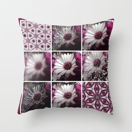 White and Magenta African Daisies Graphic Collage Throw Pillow