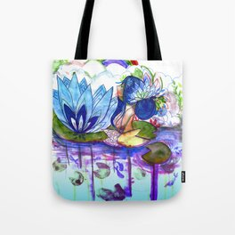 The blue lily water Tote Bag
