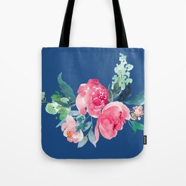 Blue and Pink Peony Watercolor Tote Bag