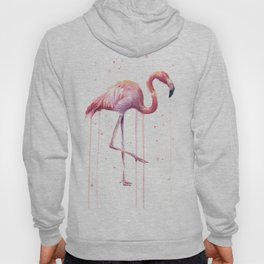 Pink Flamingo Portrait Watercolor Animals Birds | Facing Right Hoody