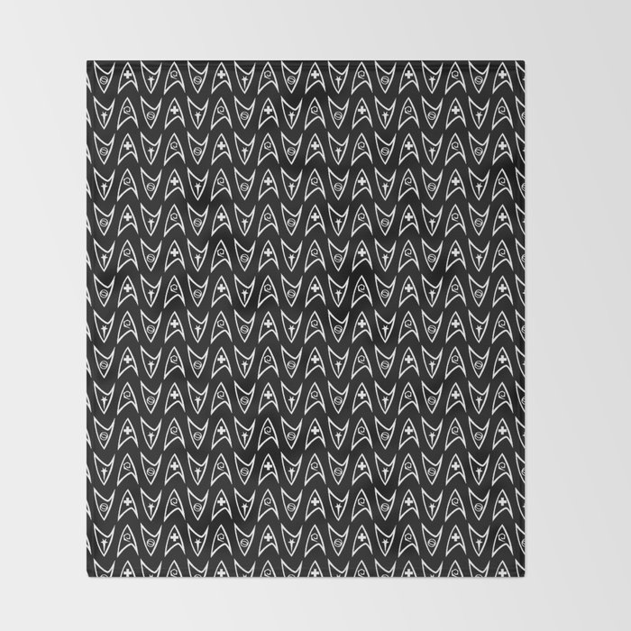 Insignia Pin Rows // Black Throw Blanket