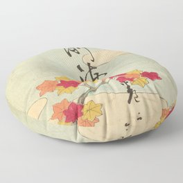 Vintage Japanese Maple Leaf and River Print Floor Pillow
