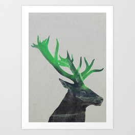 Deer In The Aurora Borealis Art Print