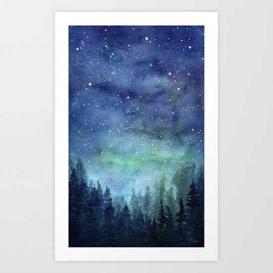 Watercolor Galaxy Nebula Northern Lights Painting by olechka