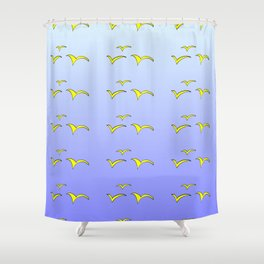 Birds in the blue sky 1-bird,sky,hope,feathers,jaws,eggs,aves,wing Shower Curtain