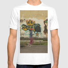 Running street, Graffiti Art Mens Fitted Tee LARGE White