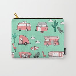 Camper summer vacation tropical pattern RV van life print by andrea lauren Carry-All Pouch