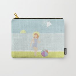 Girl at the beach with kite and ball in the 1950's vintage Carry-All Pouch