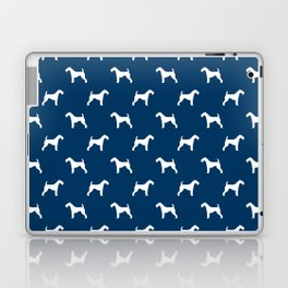 Airedale Terrier navy and white minimal dog pattern dog silhouette pattern Laptop & iPad Skin