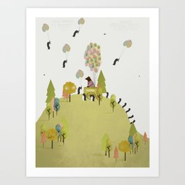 oh my how penguins fly Art Print