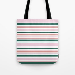 Summer Stripes - Pink, Dusty Rose, Green, and White Tote Bag