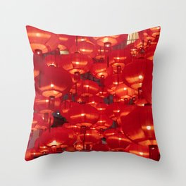 Traditional vintage red lanterns for Chinese new year Throw Pillow