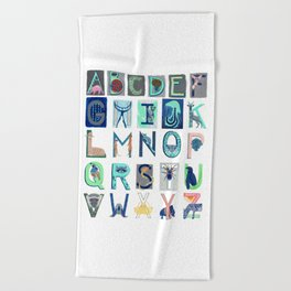 Alphabet Letter Decor Design Art Pattern Beach Towel