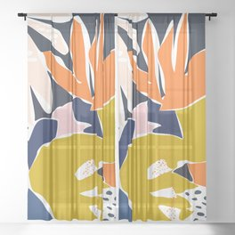 Modern flowers - design for a happy life Sheer Curtain