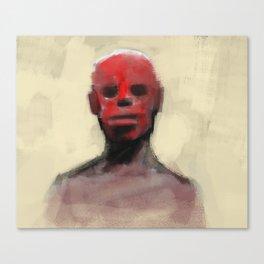 Ritual human tribe close up man face war paint Canvas Print