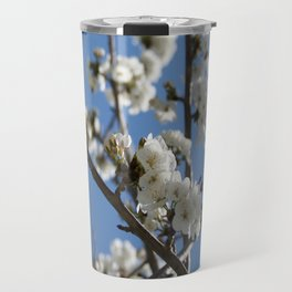 Cherry Blossom Branches Against Blue Sky Travel Mug