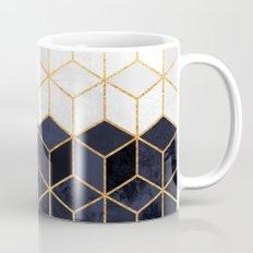 White & Navy Cubes Mug