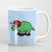 roller derby Mugs featuring Roller Derby Triceratops by Jez Kemp