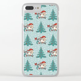 Christmas tree and santa claus SB11 Clear iPhone Case