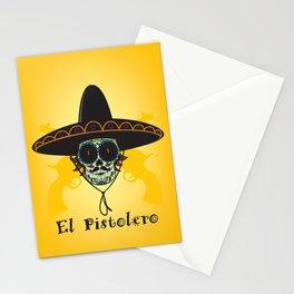 El Pistolero.Mexican sugar skull Stationery Cards