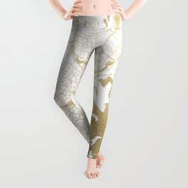 Boston White and Gold Map Leggings