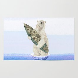 Polar bear & Surf (black) Rug