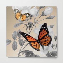 Orange Butterflies & Grayscale Flowers Metal Print