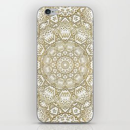 Golden Mandala in Cream Colored Background iPhone Skin
