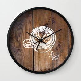 Rustic Country Kitchen Art Brown Woodgrain Barnboard  Coffee Beans Latte Coffee Cup Wall Clock