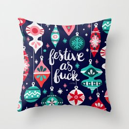 Festive As Fuck – Navy Palette Throw Pillow