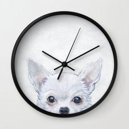 White Chihuahua Original painting print by Miart Wall Clock