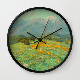 Granville Redmond snow cap spring landscape painting orange flowers green field Wall Clock