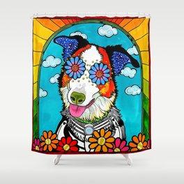 Happy Border Collie Shower Curtain