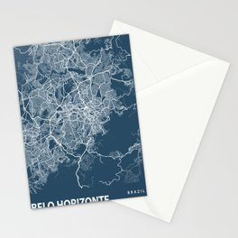 Belo Horizonte Blueprint Street Map, Belo Horizonte Colour Map Prints Stationery Cards