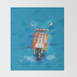 Vintage Scooter Throw Blanket